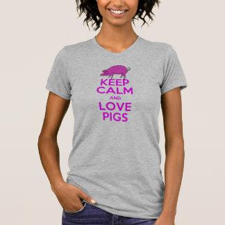 Houd de Kalme en Roze Varkens van de Liefde T Shirt