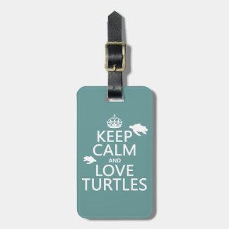 Houd de Kalme en Schildpadden van de Liefde Kofferlabel