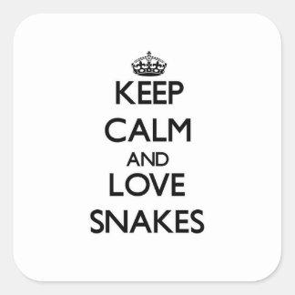 Houd de kalme en Slangen van de Liefde Vierkante Stickers