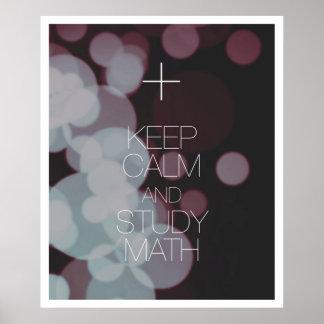 Houd de Kalme en Wiskunde van de Studie Poster