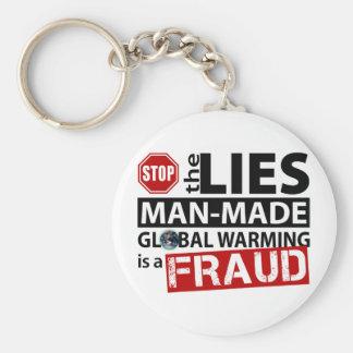 Houd de Leugens over het Globale Verwarmen tegen Basic Ronde Button Sleutelhanger