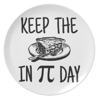 Houd de Pastei in de Dag van Pi Melamine+bord