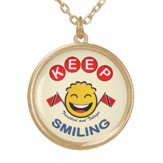 Houd glimlachend Trinidad & Tobago Smiley Goud Vergulden Ketting