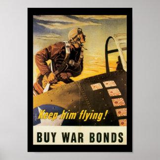 Houd hem het Vliegen Wereldoorlog II Poster