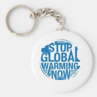 Houd Het Globale Verwarmen tegen Basic Ronde Button Sleutelhanger
