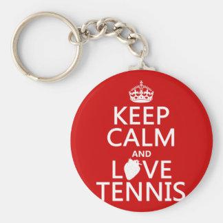 Houd het Kalme en Tennis van de Liefde (in om het Sleutelhanger