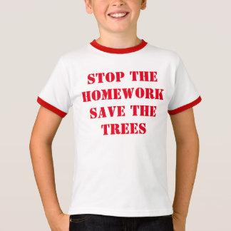 Houd het Thuiswerk sparen de Bomen tegen T Shirt