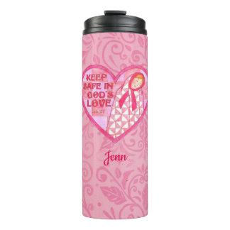 Houd het Veilige Roze Dekbed van het Lint Thermosbeker