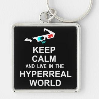 Houd in de hyperreal wereld kalm en levend sleutelhanger