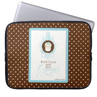 Houd Kalm & eet Cupcakes - vorm Trendy Elegant Laptop Sleeve