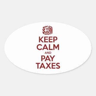 Houd Kalm en betaal Belastingen Ovale Stickers