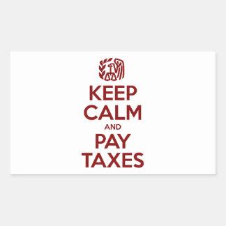 Houd Kalm en betaal Belastingen Rechthoek Stickers