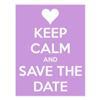 Houd Kalm en bewaar de Lavendel van de Datum Briefkaart