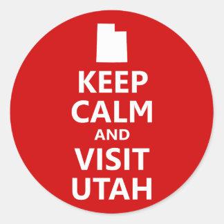 Houd Kalm en Bezoek Utah Ronde Sticker