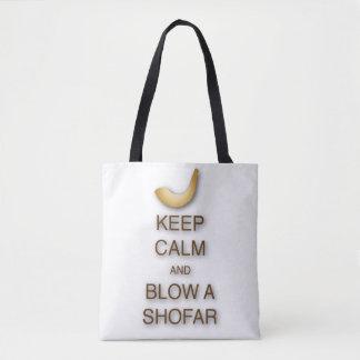 Houd kalm en blaas shofar helemaal over bolsa/zak draagtas