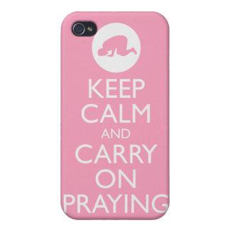 """""""Houd Kalm en blijf"""" Roze bidden! iPhone 4 Hoesjes"""