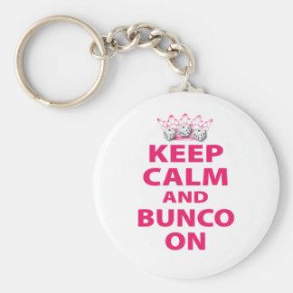 Houd Kalm en Bunco op Ontwerp Sleutelhanger