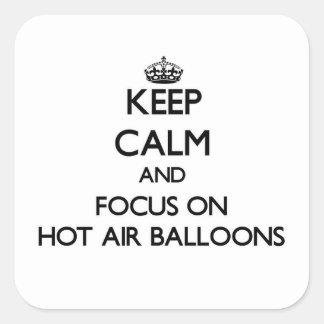 Houd Kalm en concentreer me op de Ballons van de Vierkante Sticker