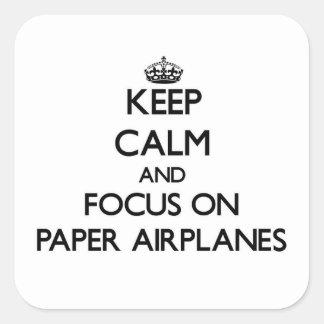 Houd Kalm en concentreer me op de Vliegtuigen van Vierkante Sticker