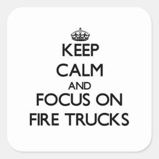 Houd Kalm en concentreer me op de Vrachtwagens van Vierkante Sticker