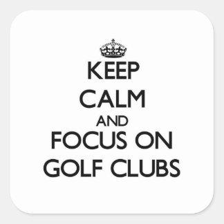 Houd Kalm en concentreer me op Golfclubs Vierkante Sticker