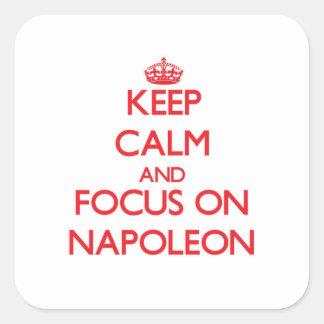 Houd Kalm en concentreer me op Napoleon Vierkante Sticker