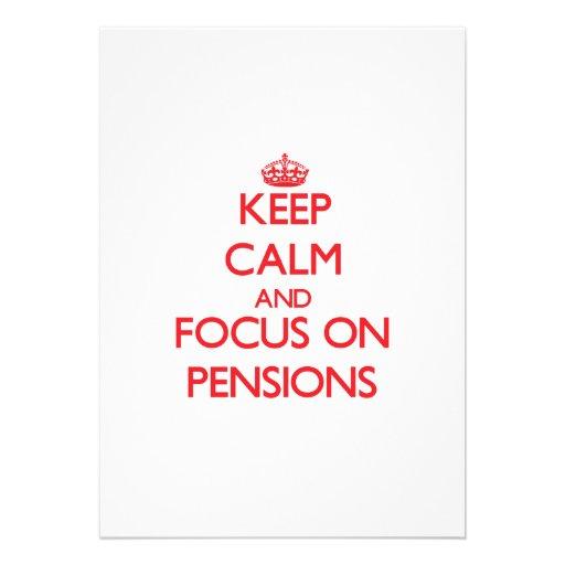 Houd Kalm en concentreer me op Pensioenen Persoonlijke Aankondigingen