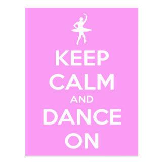 Houd Kalm en Dans op Roze Briefkaart