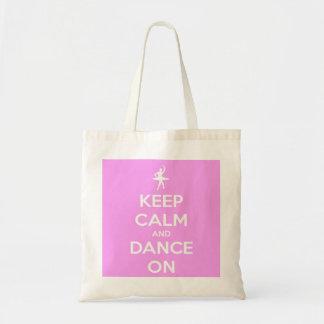 Houd Kalm en Dans op Roze Budget Draagtas