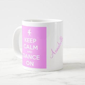Houd Kalm en Dans op Roze JumboMok Grote Koffiekop