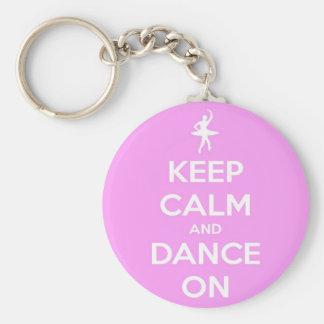 Houd Kalm en Dans op Roze Ronde Keychain Sleutelhanger