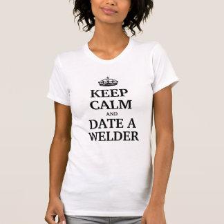 Houd kalm en dateer een Lasser T Shirt