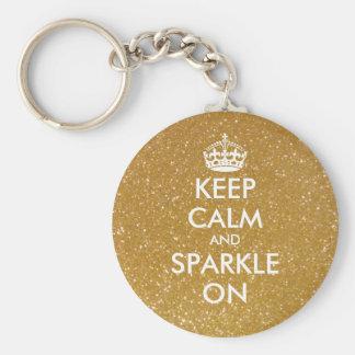 Houd kalm en de fonkeling op goud schittert basic ronde button sleutelhanger
