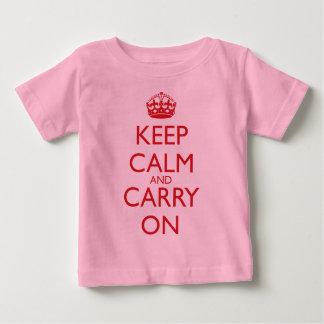 Houd Kalm en draag de Rode Teksten van de Motor Baby T Shirts