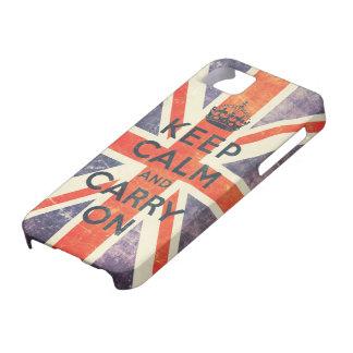 houd kalm en draag de vintage vlag van Union Jack iPhone 5 Hoesje
