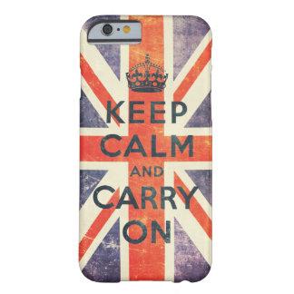 houd kalm en draag de vintage vlag van Union Jack Barely There iPhone 6 Hoesje