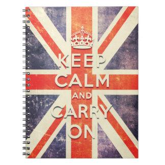 houd kalm en draag de vlag van Union Jack Notitieboek