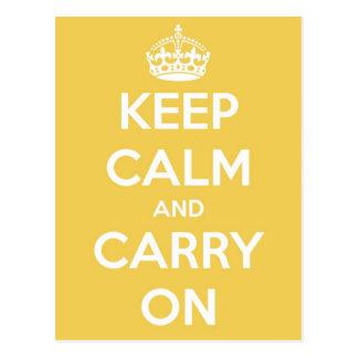 Houd Kalm en draag Geel Briefkaart
