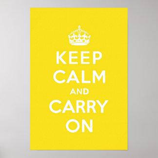 Houd Kalm en draag Gele Med van Hanze Witte Tekste Poster