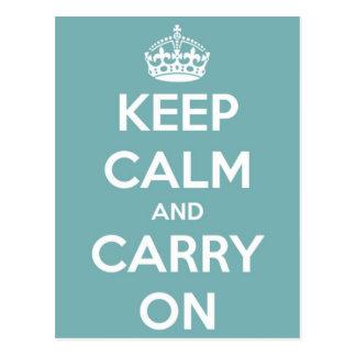 Houd Kalm en draag het Blauwe Briefkaart van de