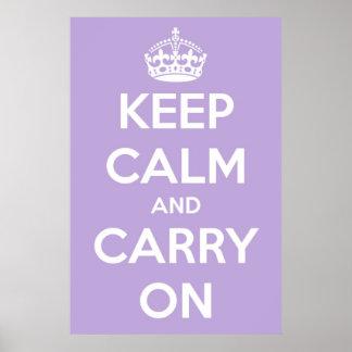 Houd Kalm en draag het Poster van de Lavendel