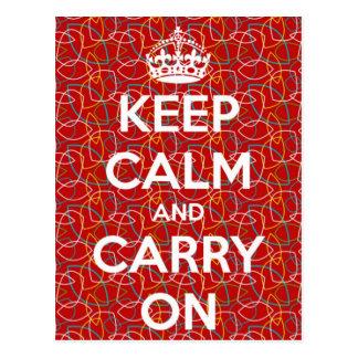 Houd Kalm en draag het Rode Retro Briefkaart van