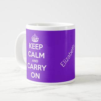 Houd Kalm en draag Paarse JumboMok Grote Koffiekop