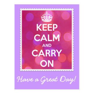 Houd Kalm en draag Roze Briefkaart Bokeh