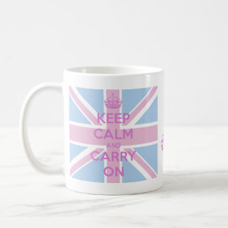Houd Kalm en draag Roze en Blauw Union Jack Koffiemok
