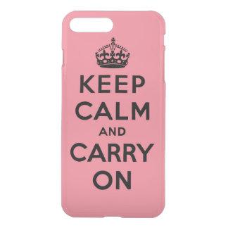 houd kalm en draag - Roze en Zwarte iPhone 7 Plus Hoesje