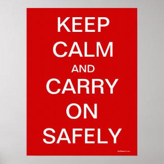 Houd Kalm en draag veilig - Gezondheid en Veilighe Poster