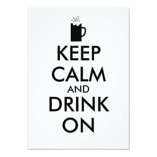 Houd Kalm en Drank op de Minnaars van het Bier van 12,7x17,8 Uitnodiging Kaart