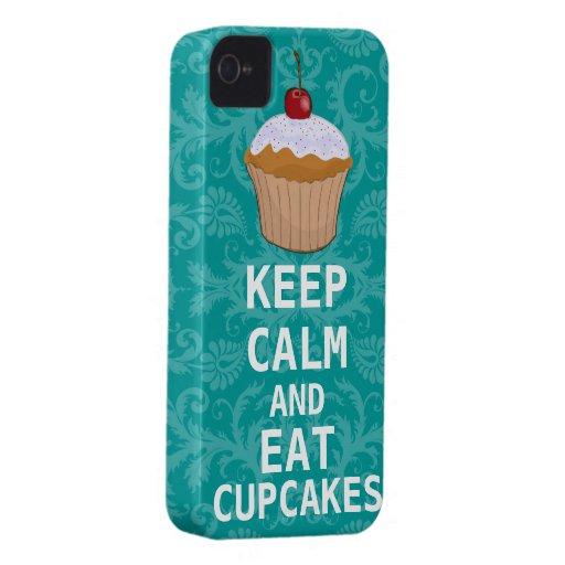 HOUD KALM EN eet Cupcakes veranderingswintertaling iPhone 4 Case-Mate Hoesje