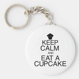 Houd Kalm en eet een Cupcake Basic Ronde Button Sleutelhanger